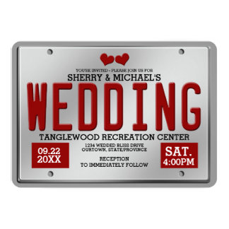 "Red/Silver License Plate Wedding 5"" X 7"" Invitation Card"