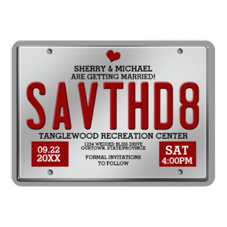 Red/Silver License Save the Date Announcements