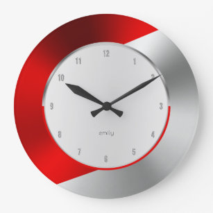 Red Silver Modern Metallic Geometric Design Large Clock