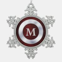 Red Silver Monogram Christmas Snowflake Pewter Christmas Ornament