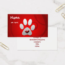 Pet care business cards visiting cards mgdezigns red silver paw heart pet business card colourmoves