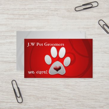 Red silver paw print with a red heart business card colourmoves