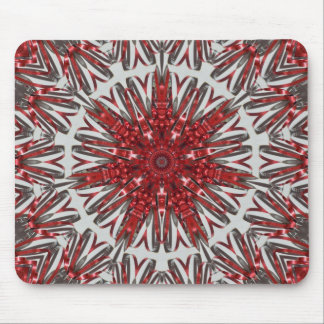 Red silver ribbons mouse pad