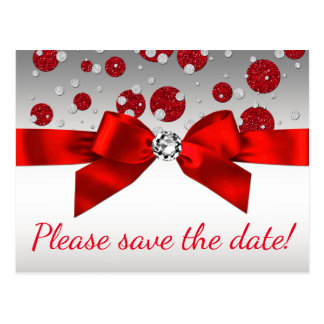 Red Silver Save The Date Postcards