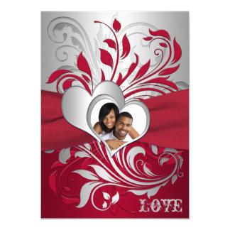 Red, Silver Scrolls, Hearts Photo Wedding Invite