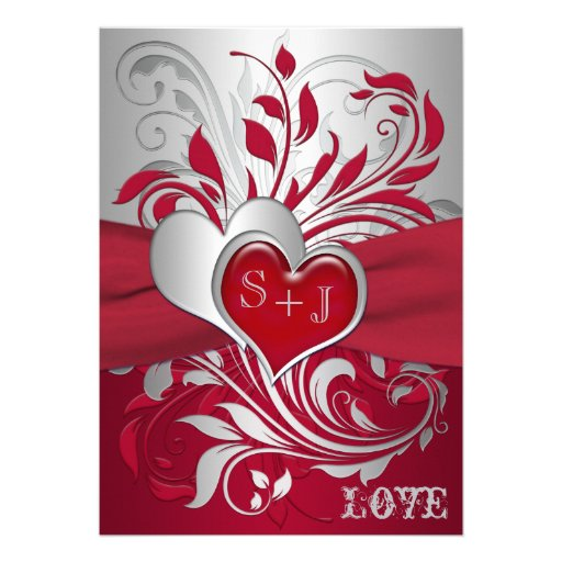"""Red And Silver Wedding Invitations: Red, Silver Scrolls, Hearts Wedding Invitation 5"""" X 7"""