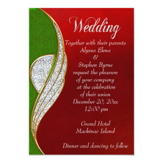 Red, Silver  Silver Christmas Wedding Invitation