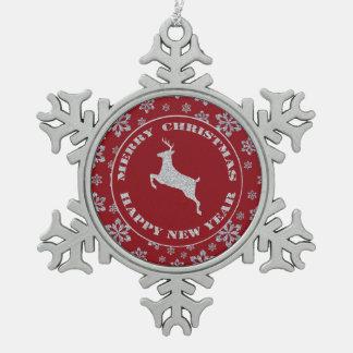 Red Silver Snowflake Reindeer Ornaments