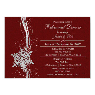 Red silver Snowflake Wedding Rehearsal Invites