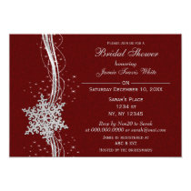 red silver Snowflake Winter Bridal Shower Invite
