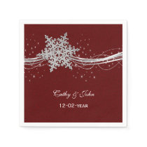 red Silver Snowflakes personalized wedding napkin