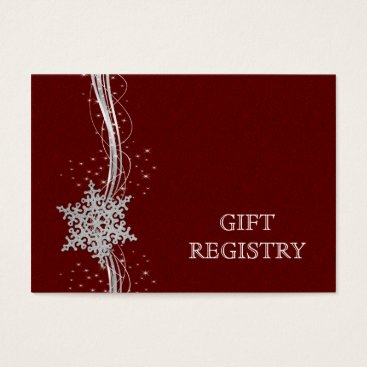 red Silver Snowflakes wedding gift registry Business Card