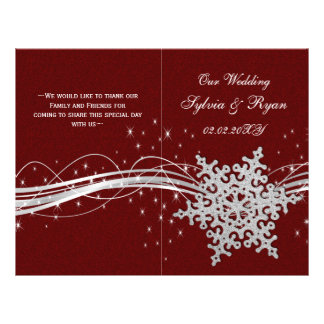 red Silver Snowflakes wedding programs folded