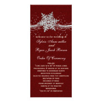 red Silver Snowflakes wedding programs tea length