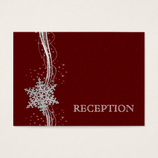 red Silver Snowflakes wedding reception invite