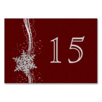 red Silver Snowflakes wedding table numbers