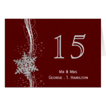 red Silver Snowflakes wedding table numbers Card