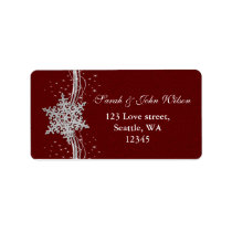 red Silver Snowflakes Winter address label