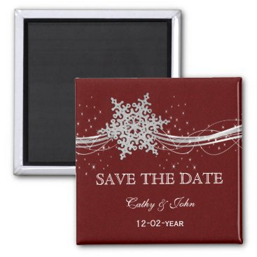red Silver Snowflakes Winter save the Date Magnet