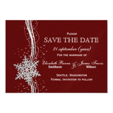 red Silver Snowflakes Winter  save the date Magnetic Card
