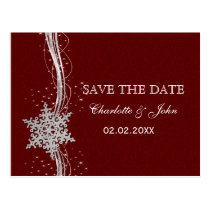 red Silver Snowflakes Winter save the Date Postcard