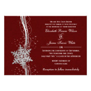 red silver Snowflakes Winter wedding invites by mgdezigns