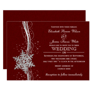 red Silver Snowflakes Winter wedding invitations