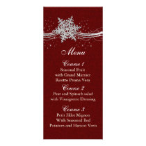 red Silver Snowflakes Winter wedding menu cards