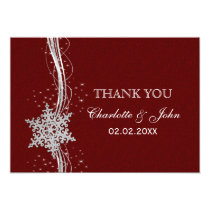 red Silver Snowflakes Winter  wedding Thank You Card