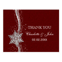red Silver Snowflakes Winter wedding Thank You Postcard