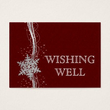 red Silver Snowflakes Winter wedding wishing well Business Card