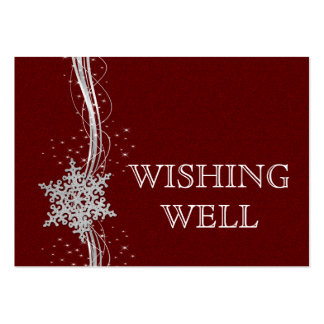 red Silver Snowflakes Winter wedding wishing well Large Business Card