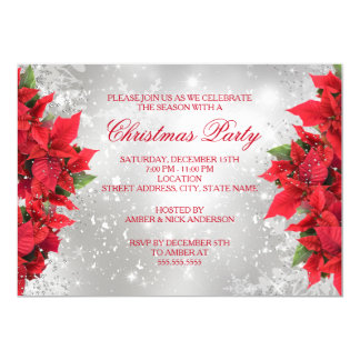 Red Silver Sparkle Holly Floral Christmas Party Card