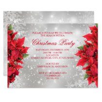 Red Silver Sparkle Holly Floral Christmas Party Invitation