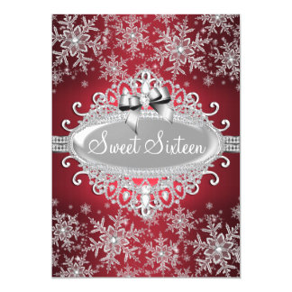 Red Silver Sparkle Snowflake Sweet 16 Invite