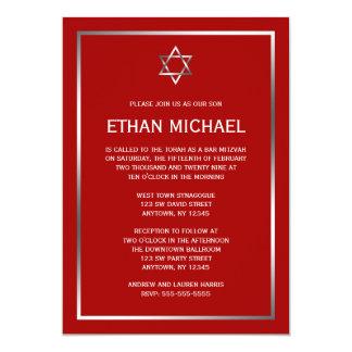 Red Silver Star of David Bar Mitzvah Invitations