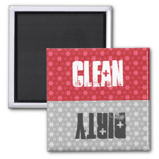 Red Silver Stars Clean Dirty Dishwasher C302 2 Inch Square Magnet