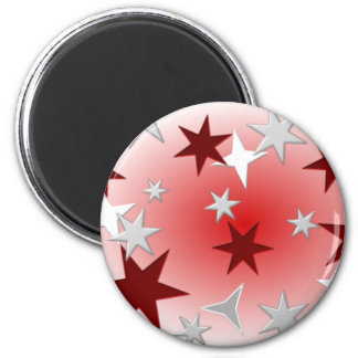 Red Silver Stars Magnet