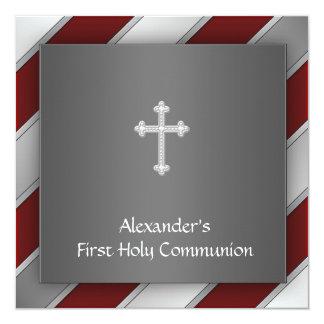 Red Silver Stripe Boy First Communion Invitation