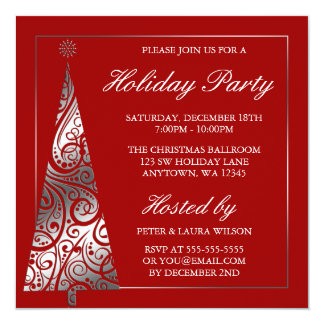 Red Silver Swirl Christmas Tree Holiday Party Invitation