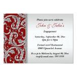 Red silver swirl engagement anniversary CUSTOM Personalized Invitation
