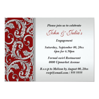 Red silver swirl engagement anniversary CUSTOM Personalized Invitation