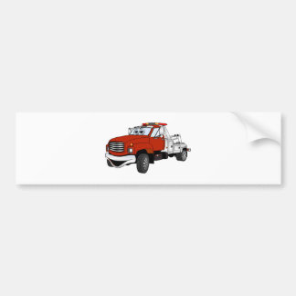 Red Silver Tow Truck Cartoon Bumper Sticker