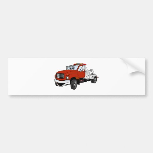 Red Silver Tow Truck Cartoon Bumper Stickers