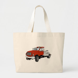 Red Silver Tow Truck Cartoon Large Tote Bag