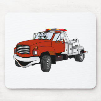 Red Silver Tow Truck Cartoon Mouse Pads