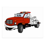 Red Silver Tow Truck Cartoon Postcards