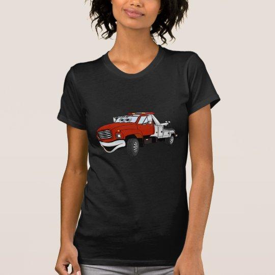 Red Silver Tow Truck Cartoon T-Shirt