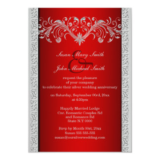 """Red silver wedding anniversary floral 5"""" x 7"""" invitation card"""