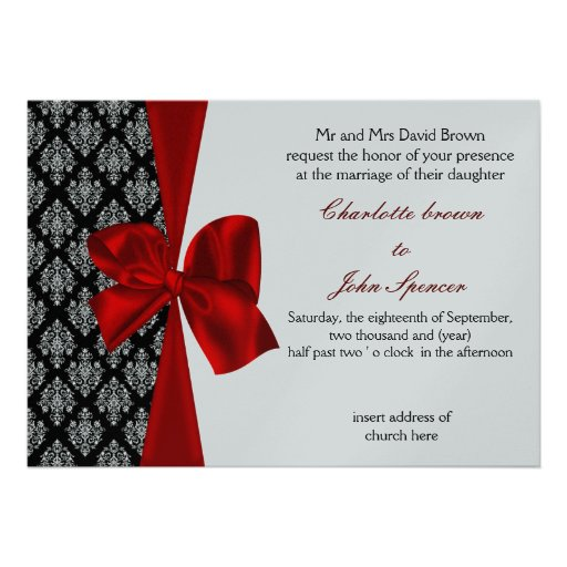 """Red And Silver Wedding Invitations: Red Silver Wedding Invitation 5"""" X 7"""" Invitation Card"""